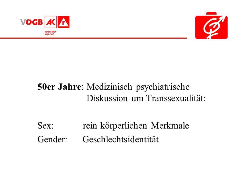 50er Jahre: Medizinisch psychiatrische Diskussion um Transsexualität: Sex: rein körperlichen Merkmale Gender: Geschlechtsidentität