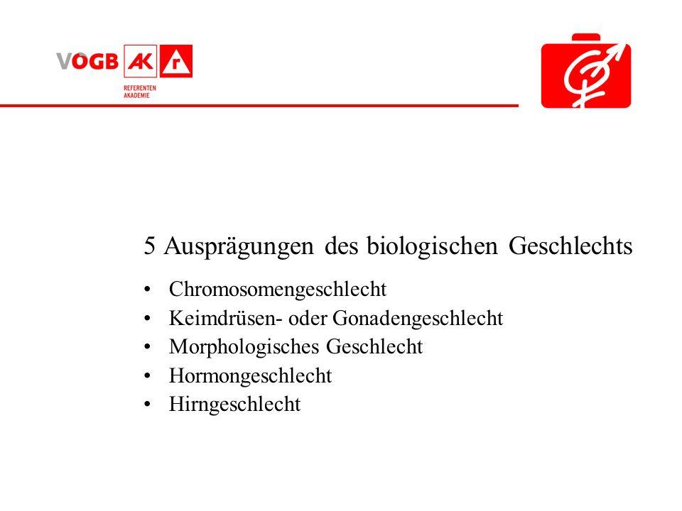 5 Ausprägungen des biologischen Geschlechts Chromosomengeschlecht Keimdrüsen- oder Gonadengeschlecht Morphologisches Geschlecht Hormongeschlecht Hirng