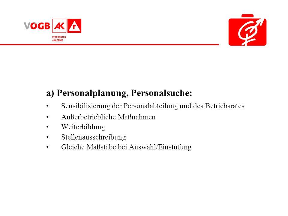 a) Personalplanung, Personalsuche: Sensibilisierung der Personalabteilung und des Betriebsrates Außerbetriebliche Maßnahmen Weiterbildung Stellenausschreibung Gleiche Maßstäbe bei Auswahl/Einstufung