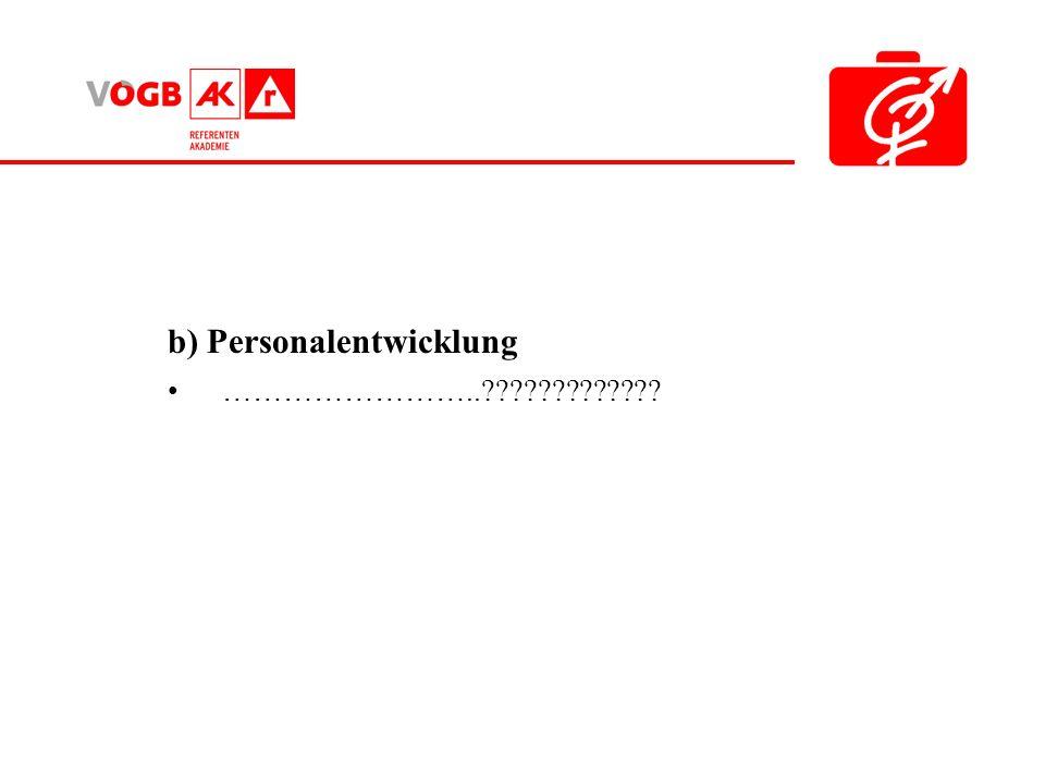b) Personalentwicklung ……………………..