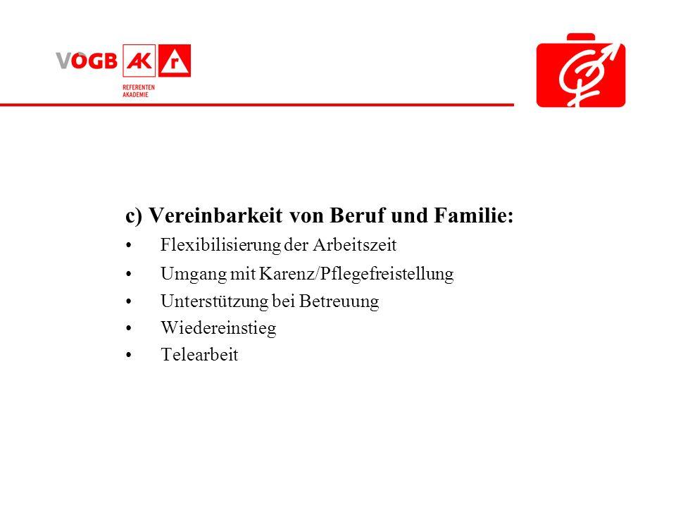 c) Vereinbarkeit von Beruf und Familie: Flexibilisierung der Arbeitszeit Umgang mit Karenz/Pflegefreistellung Unterstützung bei Betreuung Wiedereinstieg Telearbeit