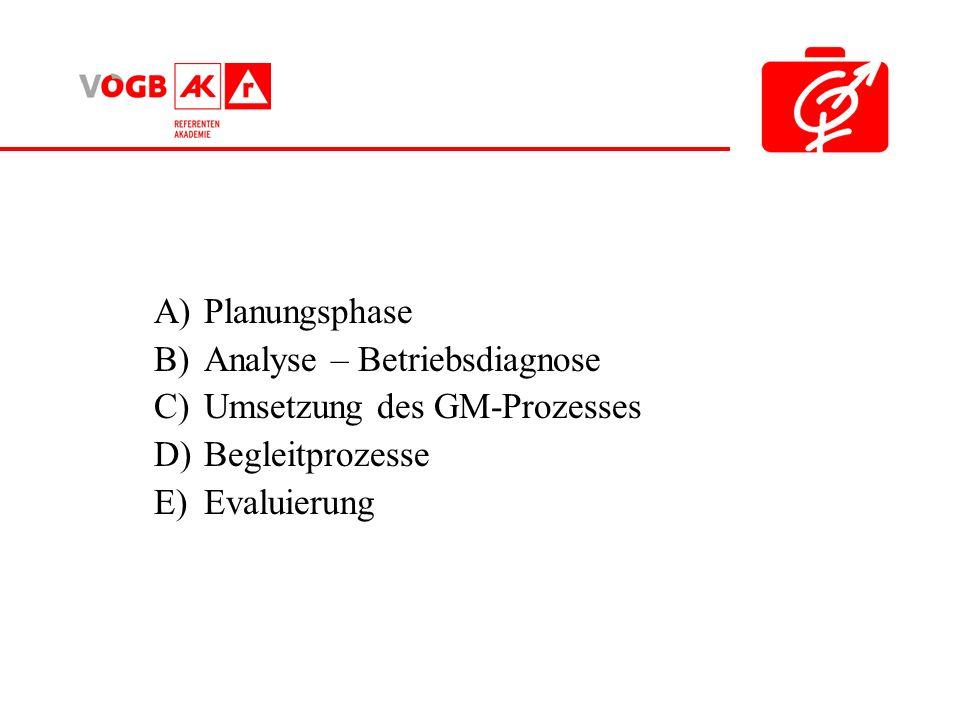 A)Planungsphase B)Analyse – Betriebsdiagnose C)Umsetzung des GM-Prozesses D)Begleitprozesse E)Evaluierung