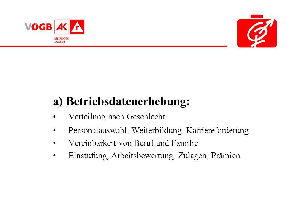 a) Betriebsdatenerhebung: Verteilung nach Geschlecht Personalauswahl, Weiterbildung, Karriereförderung Vereinbarkeit von Beruf und Familie Einstufung, Arbeitsbewertung, Zulagen, Prämien