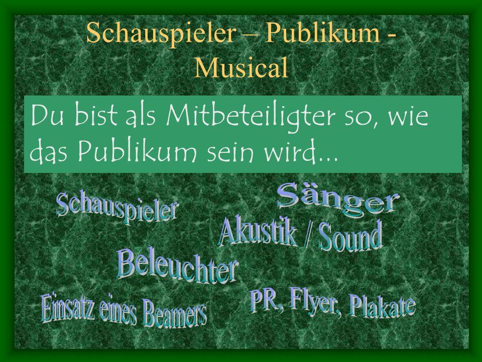 Schauspieler – Publikum - Musical Schauspieler: Person und Mensch üben, lernen, zuschauen, beobachten, reflektieren, kritisieren, engagieren...