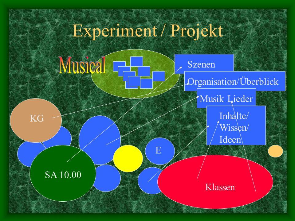 Experiment / Projekt Klassen KG SA 10.00 E Szenen Organisation/Überblick Musik Lieder Inhalte/ Wissen/ Ideen