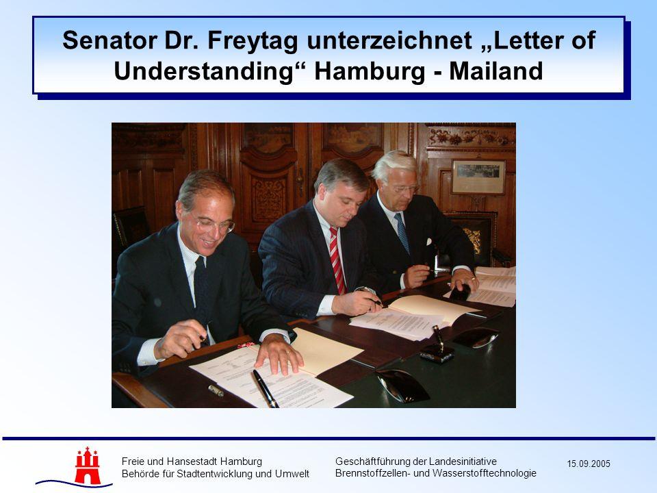 Freie und Hansestadt Hamburg Behörde für Stadtentwicklung und Umwelt Geschäftführung der Landesinitiative Brennstoffzellen- und Wasserstofftechnologie 15.09.2005 Senator Dr.