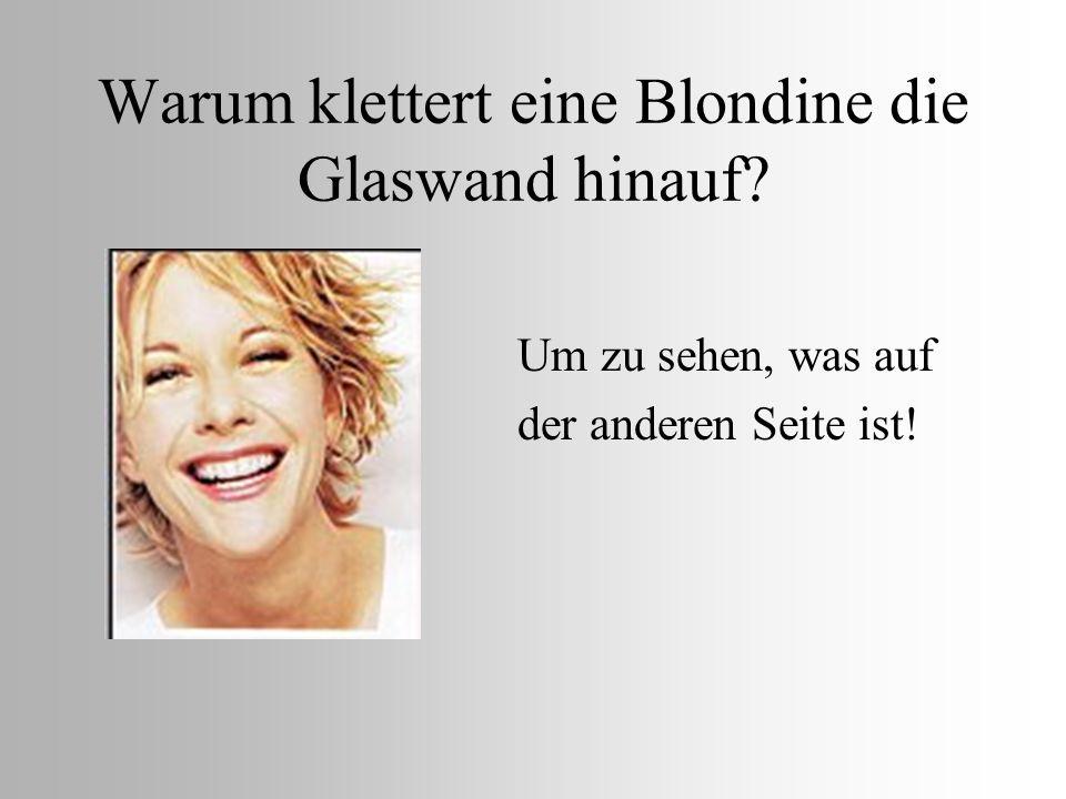 Warum klettert eine Blondine die Glaswand hinauf? Um zu sehen, was auf der anderen Seite ist!