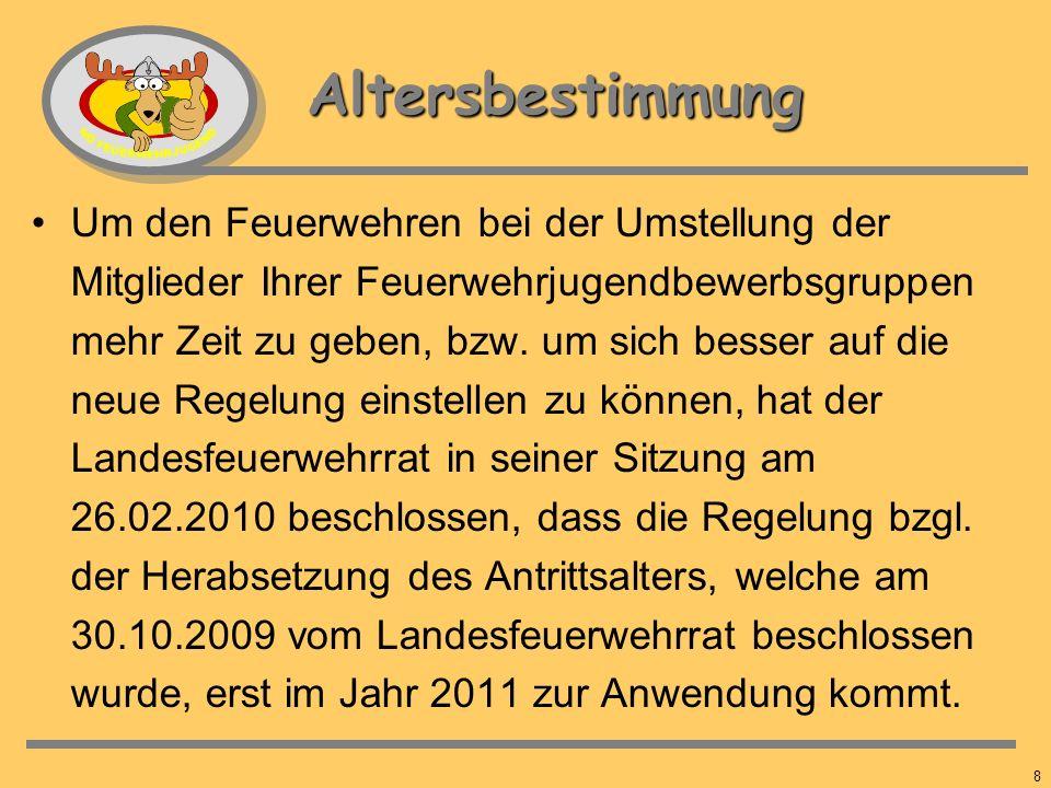 7 Altersbestimmung Der Landesfeuerwehrrat hat in seiner Sitzung vom 30. Oktober 2009 beschlossen, dass Mitglieder der Feuerwehrjugend im Kalenderjahr,