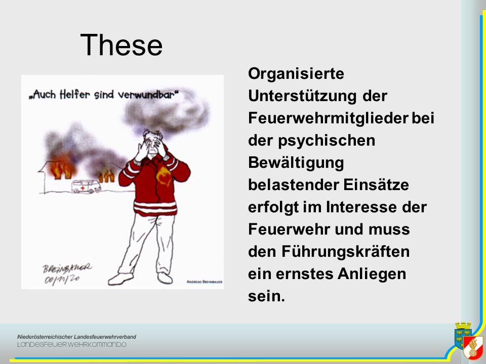 These Organisierte Unterstützung der Feuerwehrmitglieder bei der psychischen Bewältigung belastender Einsätze erfolgt im Interesse der Feuerwehr und m