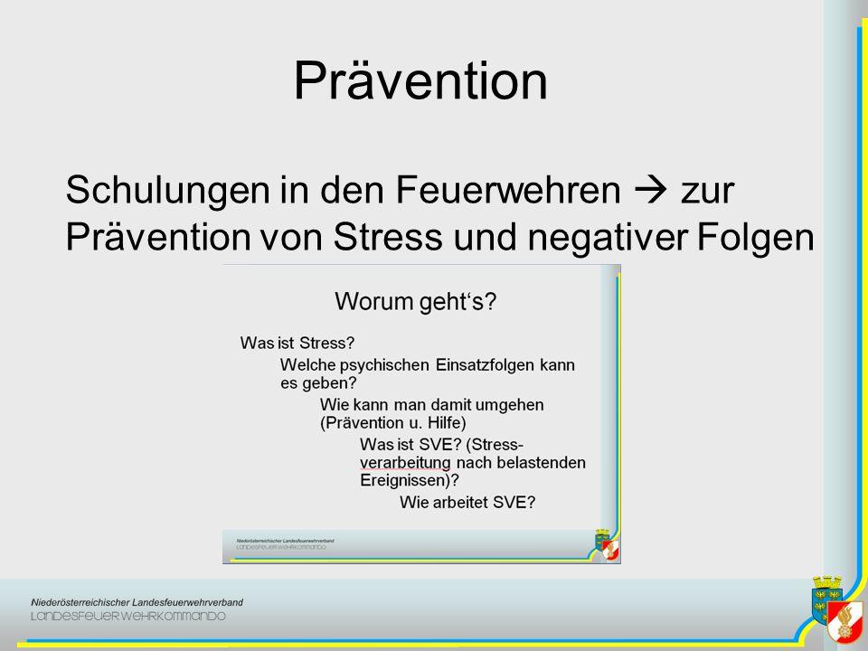 Prävention Schulungen in den Feuerwehren zur Prävention von Stress und negativer Folgen