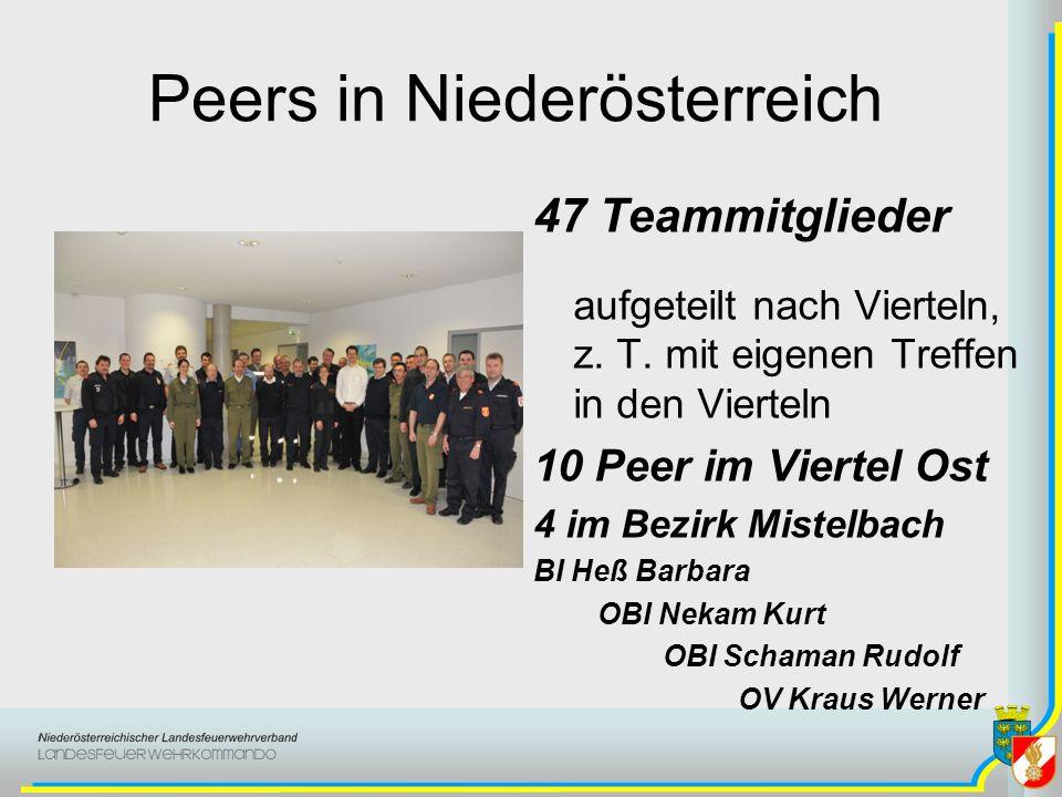 Peers in Niederösterreich 47 Teammitglieder aufgeteilt nach Vierteln, z. T. mit eigenen Treffen in den Vierteln 10 Peer im Viertel Ost 4 im Bezirk Mis