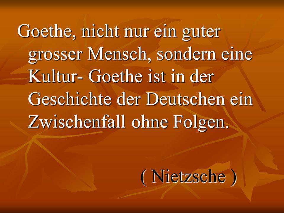 Goethe, nicht nur ein guter grosser Mensch, sondern eine Kultur- Goethe ist in der Geschichte der Deutschen ein Zwischenfall ohne Folgen. ( Nietzsche