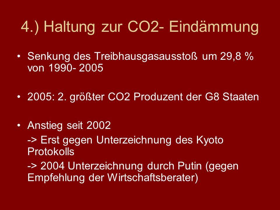 4.) Haltung zur CO2- Eindämmung Senkung des Treibhausgasausstoß um 29,8 % von 1990- 2005 2005: 2. größter CO2 Produzent der G8 Staaten Anstieg seit 20