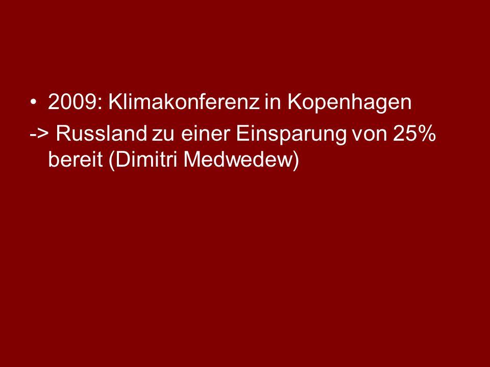 2009: Klimakonferenz in Kopenhagen -> Russland zu einer Einsparung von 25% bereit (Dimitri Medwedew)