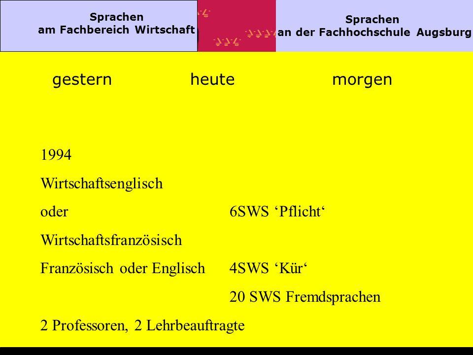 Sprachen am Fachbereich Wirtschaft Sprachen an der Fachhochschule Augsburg gesternheutemorgen 1994 Wirtschaftsenglisch oder6SWS Pflicht Wirtschaftsfranzösisch Französisch oder Englisch4SWS Kür 20 SWS Fremdsprachen 2 Professoren, 2 Lehrbeauftragte