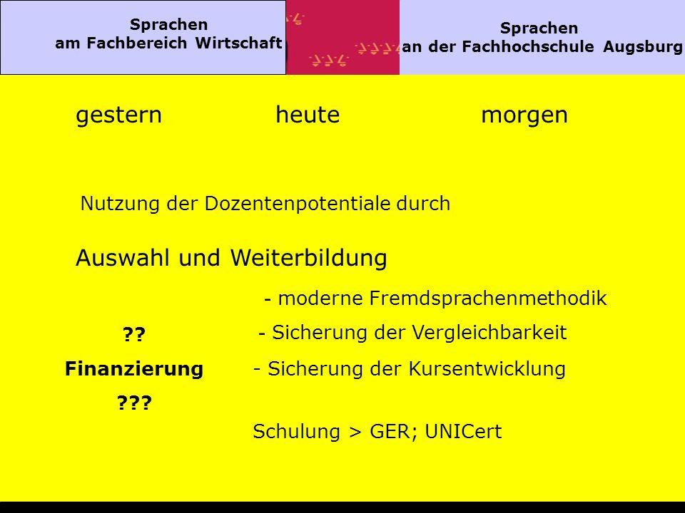 Sprachen am Fachbereich Wirtschaft Sprachen an der Fachhochschule Augsburg gesternheutemorgen Nutzung der Dozentenpotentiale durch Auswahl und Weiterbildung - moderne Fremdsprachenmethodik - Sicherung der Vergleichbarkeit - Sicherung der Kursentwicklung Schulung > GER; UNICert ?.