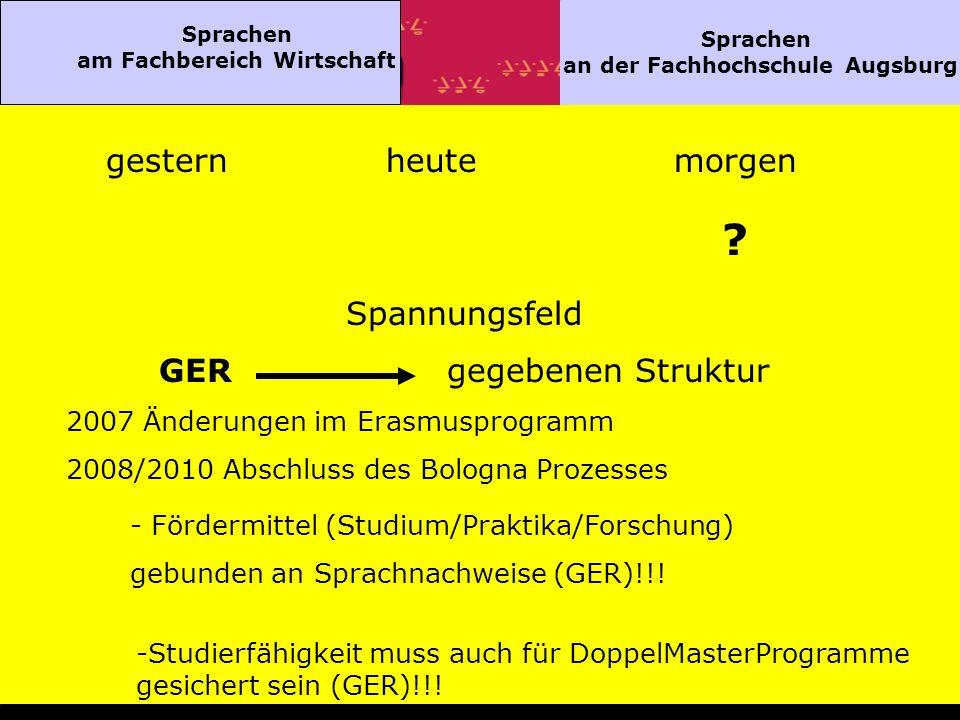 Sprachen am Fachbereich Wirtschaft Sprachen an der Fachhochschule Augsburg gesternheutemorgen .