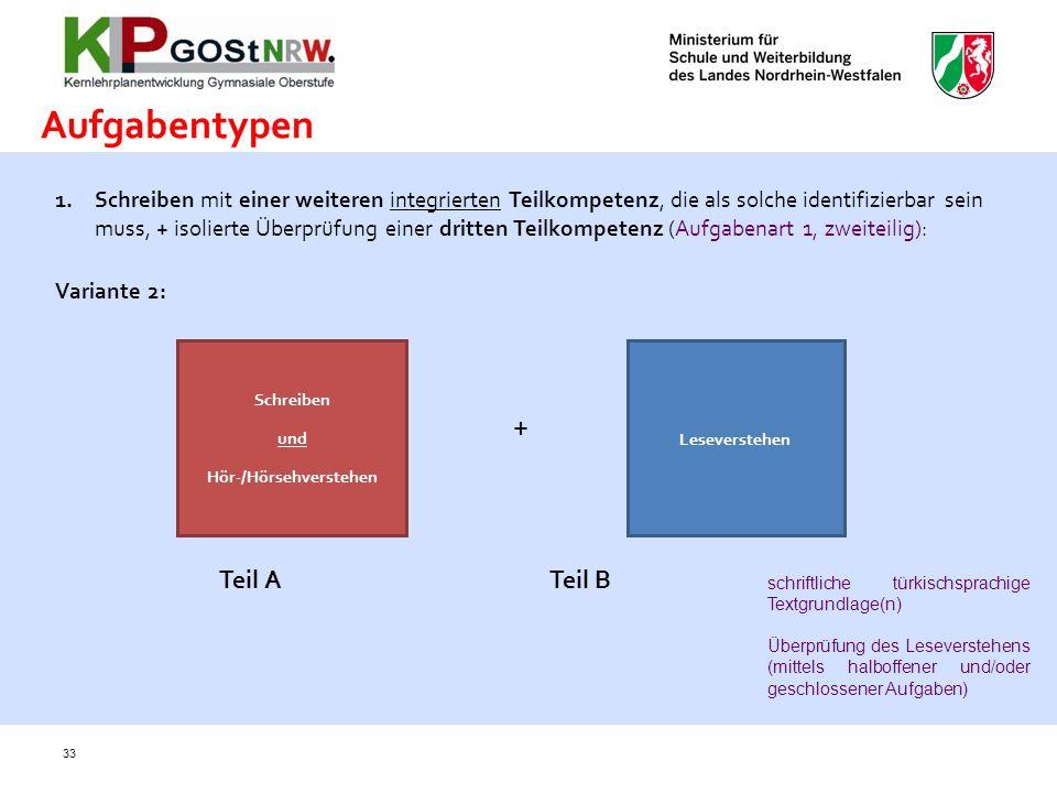 33 Aufgabentypen 1.Schreiben mit einer weiteren integrierten Teilkompetenz, die als solche identifizierbar sein muss, + isolierte Überprüfung einer dr