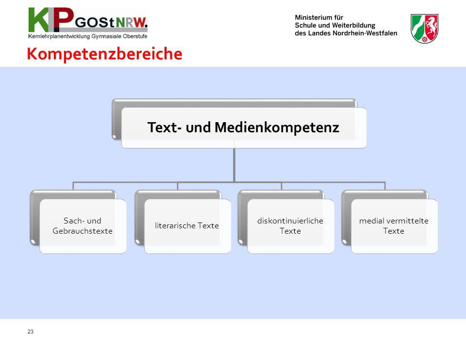 Kompetenzbereiche 23 Text- und Medienkompetenz Sach- und Gebrauchstexte literarische Texte diskontinuierliche Texte medial vermittelte Texte