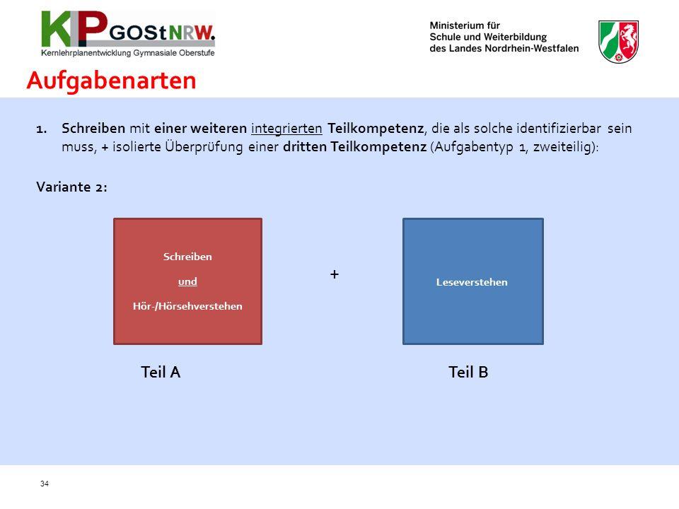 34 Aufgabenarten 1.Schreiben mit einer weiteren integrierten Teilkompetenz, die als solche identifizierbar sein muss, + isolierte Überprüfung einer dr