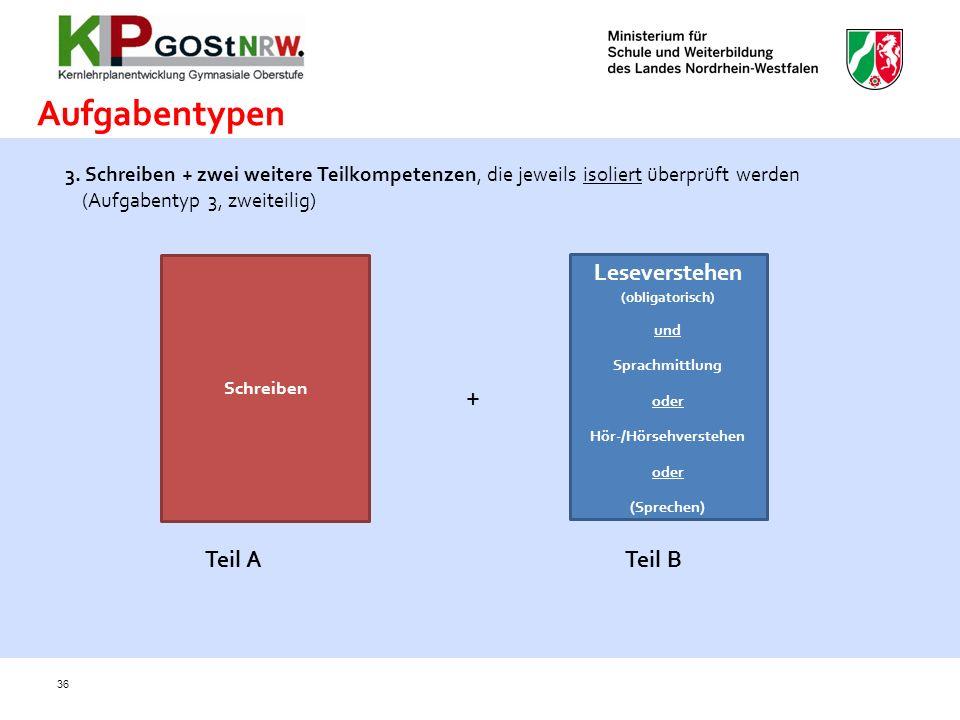 36 3. Schreiben + zwei weitere Teilkompetenzen, die jeweils isoliert überprüft werden (Aufgabentyp 3, zweiteilig) Schreiben + Leseverstehen (obligator