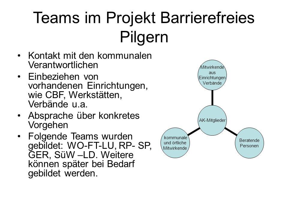 Teams im Projekt Barrierefreies Pilgern Kontakt mit den kommunalen Verantwortlichen Einbeziehen von vorhandenen Einrichtungen, wie CBF, Werkstätten, V