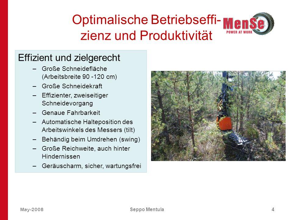 May-2008Seppo Mentula4 Optimalische Betriebseffi- zienz und Produktivität Effizient und zielgerecht –Große Schneidefläche (Arbeitsbreite 90 -120 cm) –