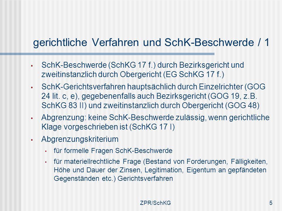 Gegenüberstellung gerichtliches Verfahren und SchK- Beschwerde / 2 Zustellungsmangel des Zahlungsbefehls Bestreitung der betriebenen Forderung SchK-BeschwerdeRechtsvorschlag beim Bezirksgericht als untere kantonale AB als Kollegialgericht (Art.