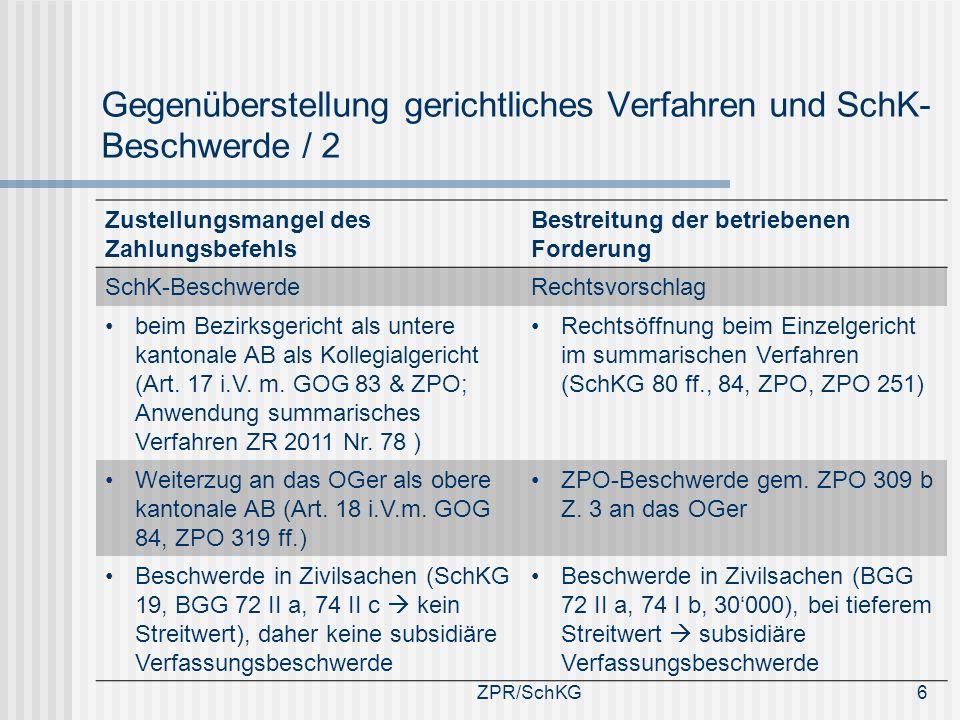Gegenüberstellung gerichtliches Verfahren und SchK- Beschwerde / 2 Zustellungsmangel des Zahlungsbefehls Bestreitung der betriebenen Forderung SchK-Be