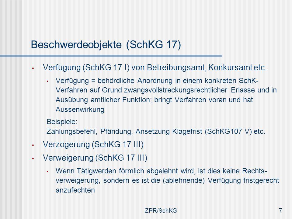 Beschwerdeobjekte (SchKG 17) Verfügung (SchKG 17 I) von Betreibungsamt, Konkursamt etc. Verfügung = behördliche Anordnung in einem konkreten SchK- Ver