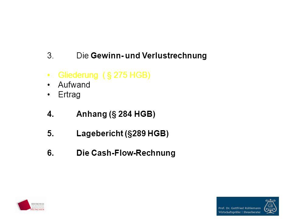3.Die Gewinn- und Verlustrechnung Gliederung ( § 275 HGB) Aufwand Ertrag 4.Anhang (§ 284 HGB) 5.Lagebericht (§289 HGB) 6.Die Cash-Flow-Rechnung