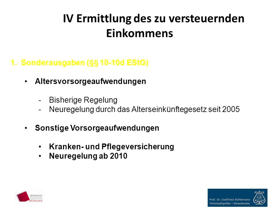 IV Ermittlung des zu versteuernden Einkommens 1.Sonderausgaben (§§ 10-10d EStG) Altersvorsorgeaufwendungen -Bisherige Regelung -Neuregelung durch das Alterseinkünftegesetz seit 2005 Sonstige Vorsorgeaufwendungen Kranken- und Pflegeversicherung Neuregelung ab 2010