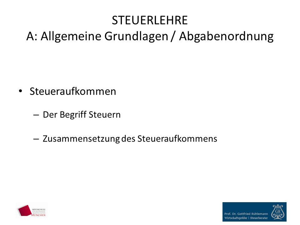 STEUERLEHRE A: Allgemeine Grundlagen / Abgabenordnung Steueraufkommen – Der Begriff Steuern – Zusammensetzung des Steueraufkommens