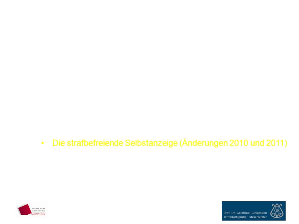 5.Außergerichtliches Rechtsbehelfsverfahren Einspruch Rechtsbehelfsfristen 6.Steuerstraftaten und –Steuerordnungswidrigkeiten Leichtfertige Steuerverkürzung Normale/ schwere Steuerhinterziehung Bandenmäßige/ gewerbliche Steuerhinterziehung Rechtsfolgen Die strafbefreiende Selbstanzeige (Änderungen 2010 und 2011) Kurzeinführung ins allgemeine und ins Steuer-Strafrecht Wie wird Steuerhinterziehung aufgedeckt - Fälle aus der Praxis III.Fallstudie