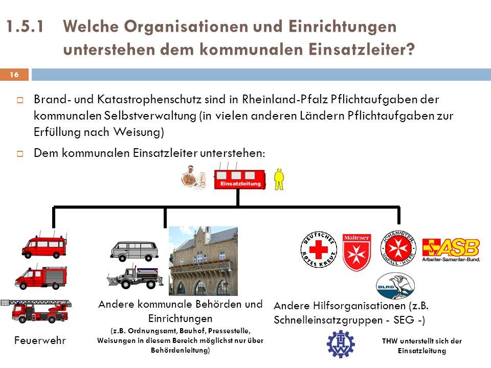 1.5.1Welche Organisationen und Einrichtungen unterstehen dem kommunalen Einsatzleiter? Brand- und Katastrophenschutz sind in Rheinland-Pfalz Pflichtau