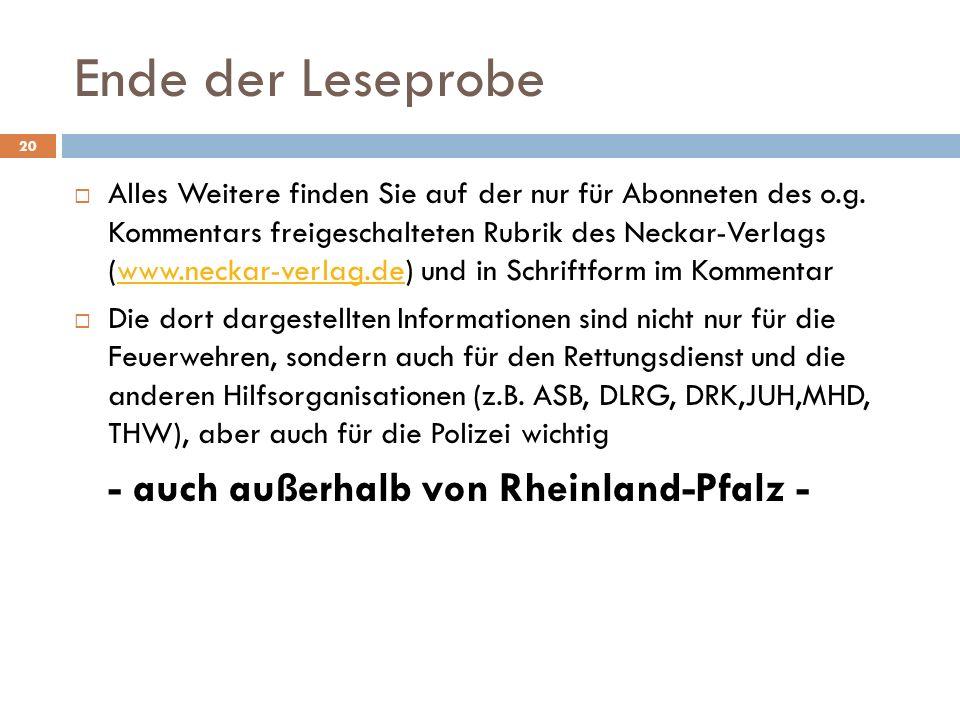 Ende der Leseprobe Alles Weitere finden Sie auf der nur für Abonneten des o.g. Kommentars freigeschalteten Rubrik des Neckar-Verlags (www.neckar-verla
