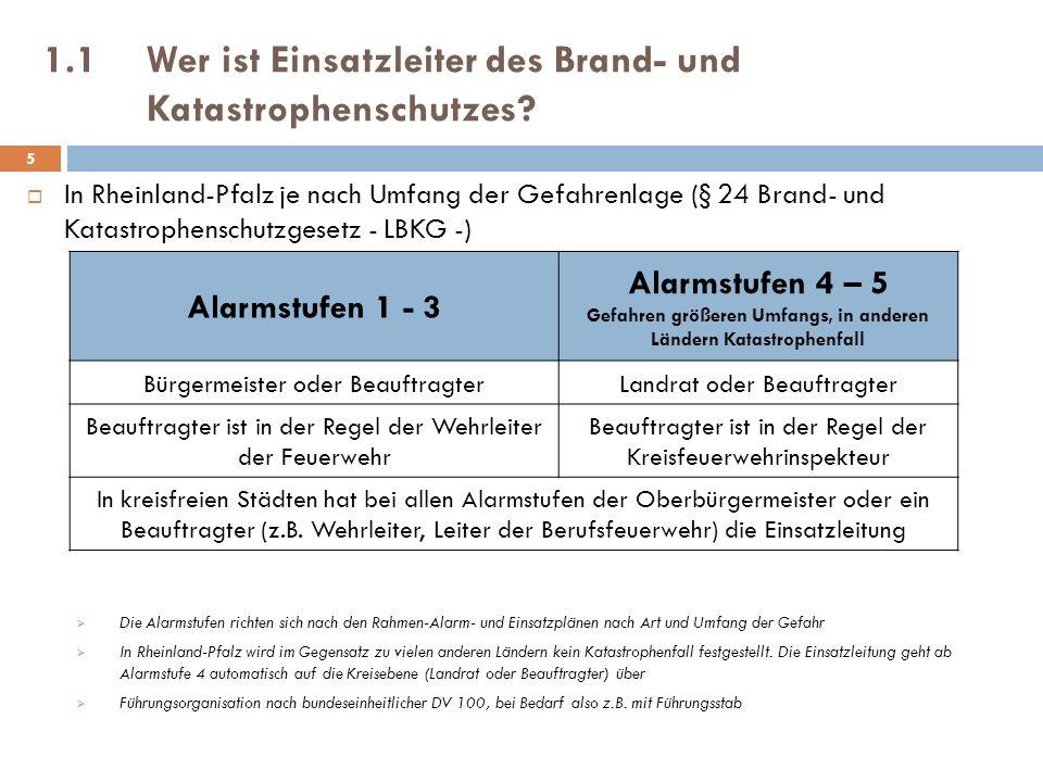 1.1Wer ist Einsatzleiter des Brand- und Katastrophenschutzes? In Rheinland-Pfalz je nach Umfang der Gefahrenlage (§ 24 Brand- und Katastrophenschutzge