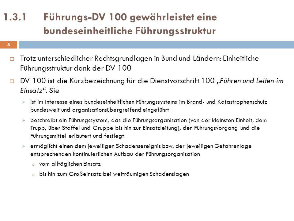 1.3.2Führungsgrundsätze der DV 100 Führungsgrundsätze der DV 100* ) Aufgaben, Befugnisse und Mittel müssen aufeinander abgestimmt sein Aufgabenbereiche müssen überschaubar und klar abgegrenzt sein Unterstellungsverhältnisse und Weisungsrechte müssen klar festgelegt werden Die Zusammenarbeit mit anderen, nicht unterstellten Kräften und Stellen, muss gewährleistet werden 9 *) Plattner, Hans-Peter, Führen im Einsatz, Kommentar zur FwDV 100, Kohlhammer, Stuttgart 1999, S.