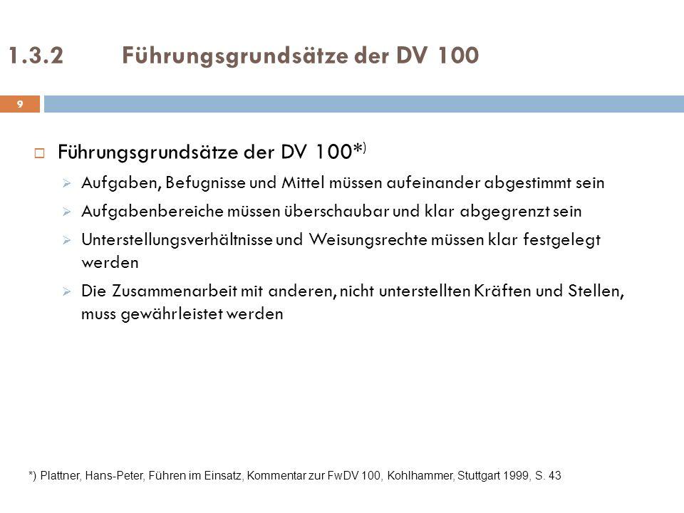 1.3.2Führungsgrundsätze der DV 100 Führungsgrundsätze der DV 100* ) Aufgaben, Befugnisse und Mittel müssen aufeinander abgestimmt sein Aufgabenbereich