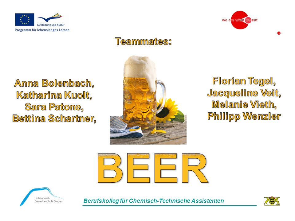 - History of Beer - The german beer purity law - The contents materials - Brewing process - Beer as food Index