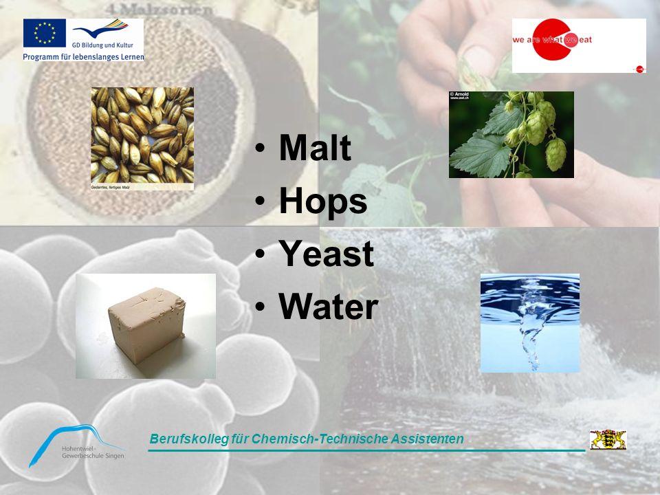 Berufskolleg für Chemisch-Technische Assistenten Malt Hops Yeast Water Berufskolleg für Chemisch-Technische Assistenten