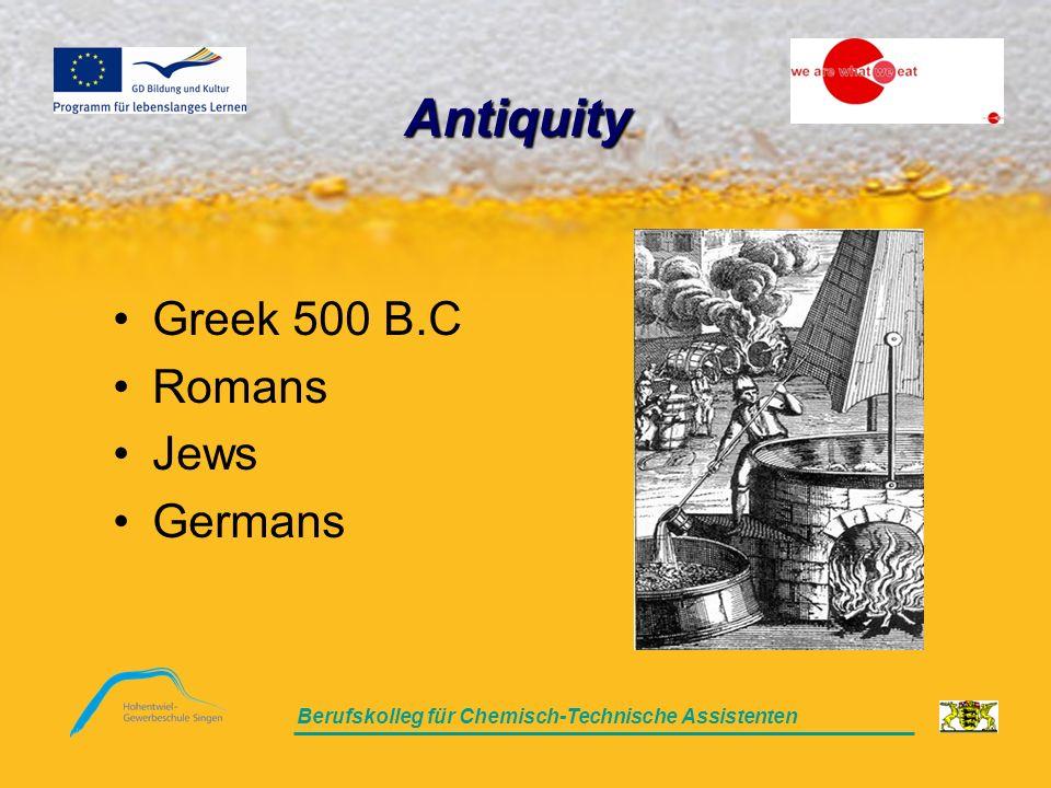 Berufskolleg für Chemisch-Technische Assistenten Antiquity Greek 500 B.C Romans Jews Germans