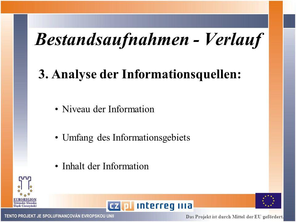 Bestandsaufnahmen - Verlauf 3. Analyse der Informationsquellen: Niveau der Information Umfang des Informationsgebiets Inhalt der Information Das Proje