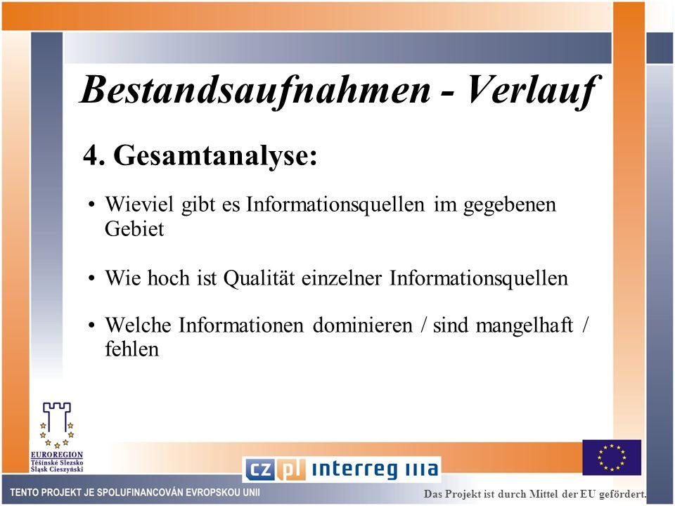 Bestandsaufnahmen - Verlauf 4. Gesamtanalyse: Wieviel gibt es Informationsquellen im gegebenen Gebiet Wie hoch ist Qualität einzelner Informationsquel