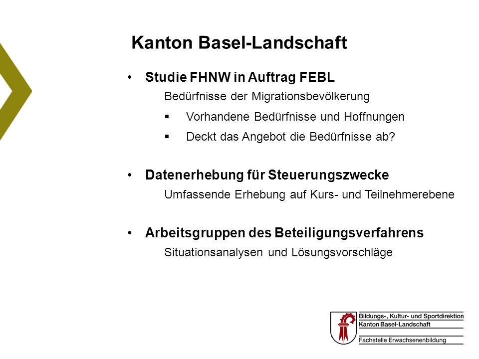 Kanton Basel-Landschaft Studie FHNW in Auftrag FEBL Bedürfnisse der Migrationsbevölkerung Vorhandene Bedürfnisse und Hoffnungen Deckt das Angebot die