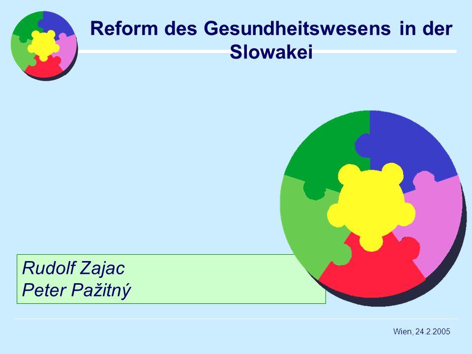 Wien, 24.2.2005 Rudolf Zajac Peter Pažitný Reform des Gesundheitswesens in der Slowakei