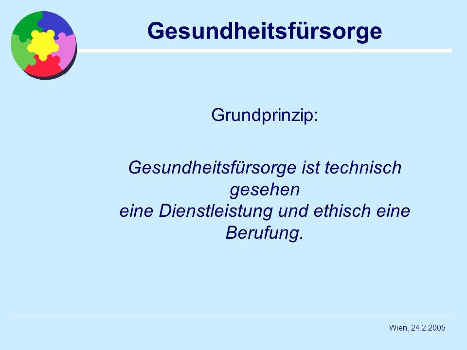 Wien, 24.2.2005 Gesundheitsfürsorge Grundprinzip: Gesundheitsfürsorge ist technisch gesehen eine Dienstleistung und ethisch eine Berufung.