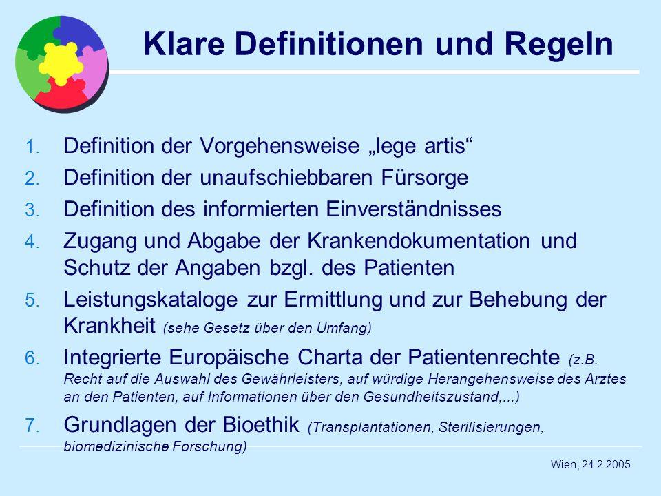 Wien, 24.2.2005 Klare Definitionen und Regeln 1. Definition der Vorgehensweise lege artis 2. Definition der unaufschiebbaren Fürsorge 3. Definition de