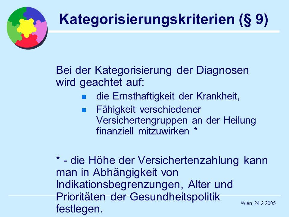 Wien, 24.2.2005 Kategorisierungskriterien (§ 9) Bei der Kategorisierung der Diagnosen wird geachtet auf: die Ernsthaftigkeit der Krankheit, Fähigkeit