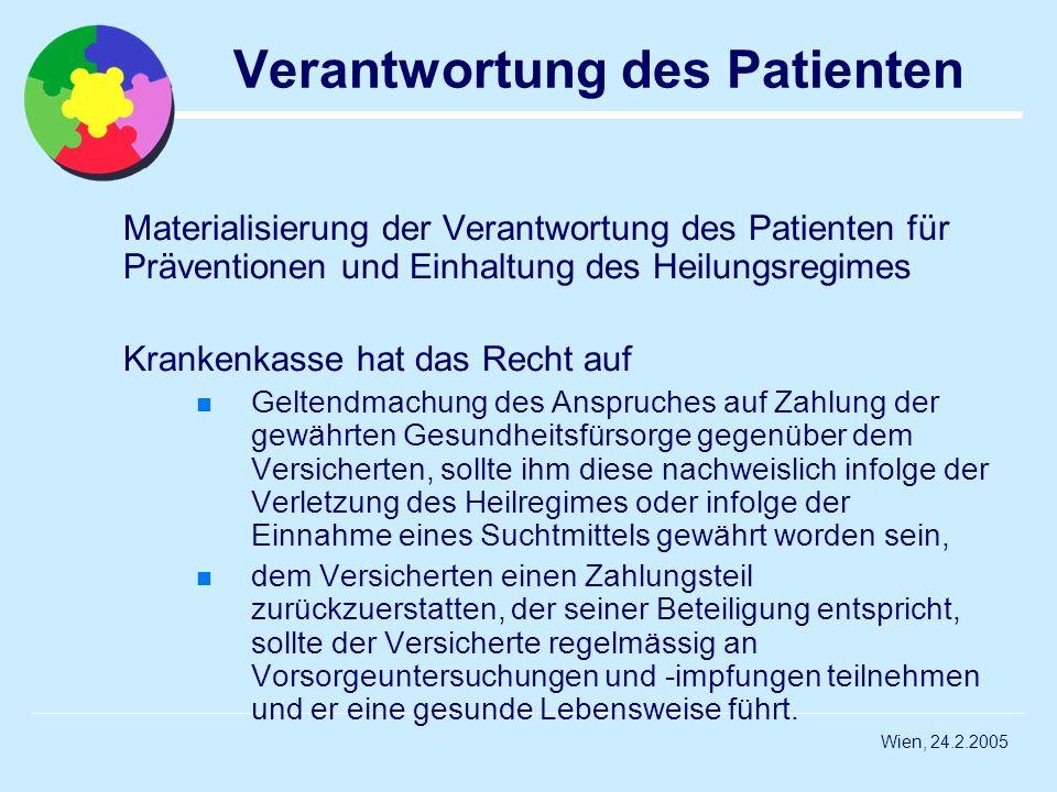 Wien, 24.2.2005 Verantwortung des Patienten Materialisierung der Verantwortung des Patienten für Präventionen und Einhaltung des Heilungsregimes Krank